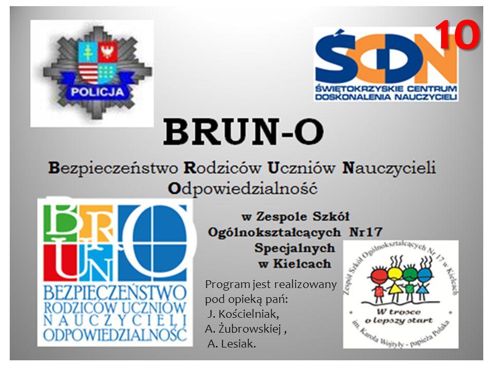 10 Program jest realizowany pod opieką pań: J. Kościelniak, A. Żubrowskiej, A. Lesiak.