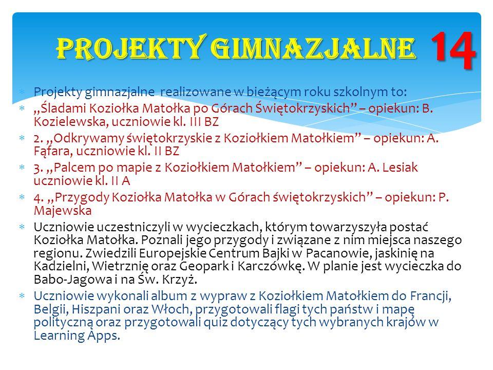 """ Projekty gimnazjalne realizowane w bieżącym roku szkolnym to:  """"Śladami Koziołka Matołka po Górach Świętokrzyskich"""" – opiekun: B. Kozielewska, uczn"""