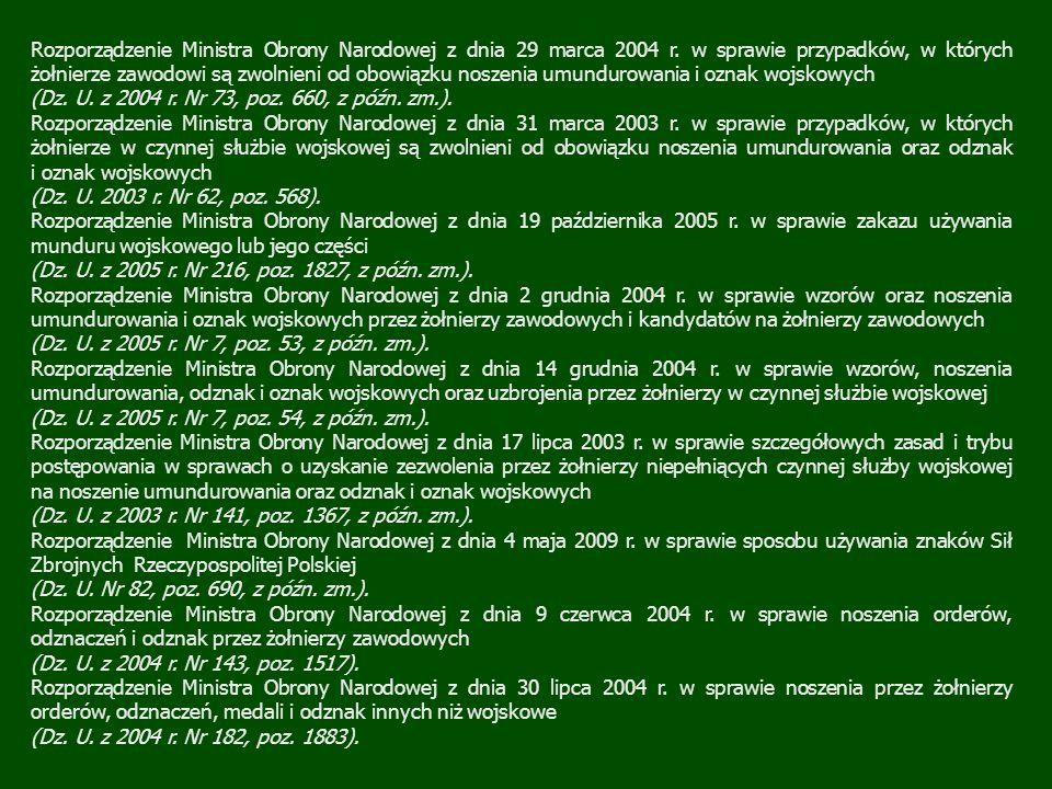 Rozporządzenie Ministra Obrony Narodowej z dnia 29 marca 2004 r. w sprawie przypadków, w których żołnierze zawodowi są zwolnieni od obowiązku noszenia