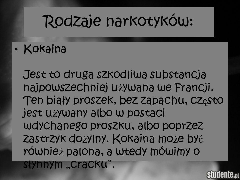 Rodzaje narkotyków: Kokaina Jest to druga szkodliwa substancja najpowszechniej u ż ywana we Francji. Ten biały proszek, bez zapachu, cz ę sto jest u ż