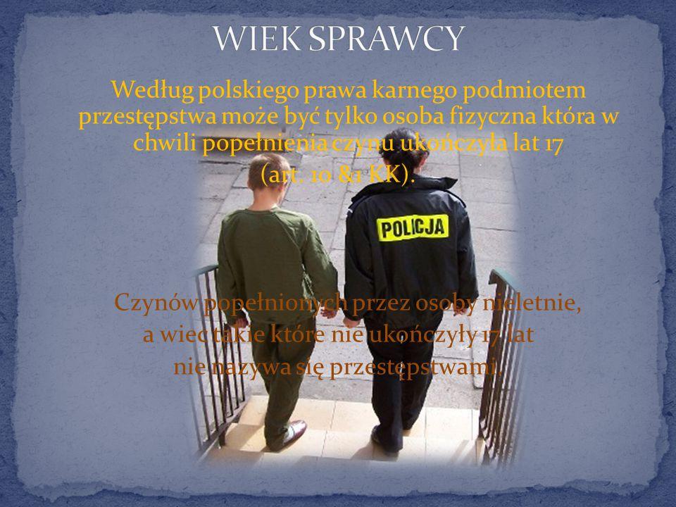 Według polskiego prawa karnego podmiotem przestępstwa może być tylko osoba fizyczna która w chwili popełnienia czynu ukończyła lat 17 (art.