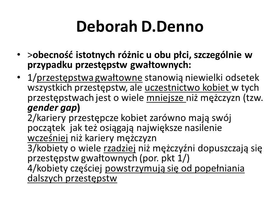 Deborah D.Denno >obecność istotnych różnic u obu płci, szczególnie w przypadku przestępstw gwałtownych: 1/przestępstwa gwałtowne stanowią niewielki od