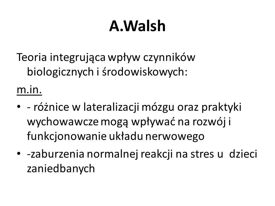 A.Walsh Teoria integrująca wpływ czynników biologicznych i środowiskowych: m.in. - różnice w lateralizacji mózgu oraz praktyki wychowawcze mogą wpływa