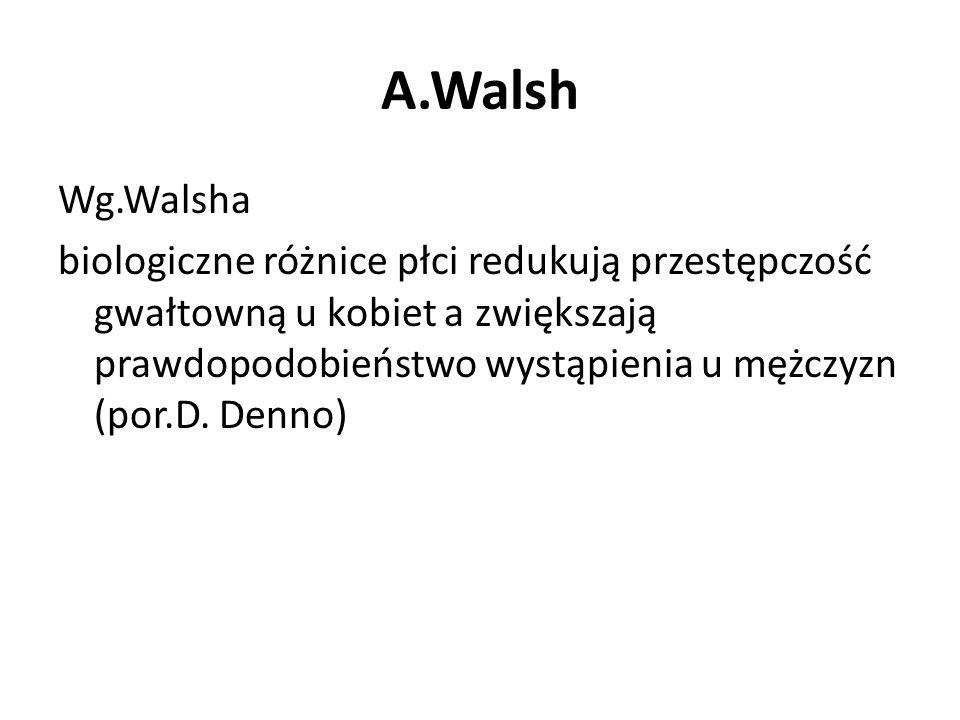 A.Walsh Wg.Walsha biologiczne różnice płci redukują przestępczość gwałtowną u kobiet a zwiększają prawdopodobieństwo wystąpienia u mężczyzn (por.D. De