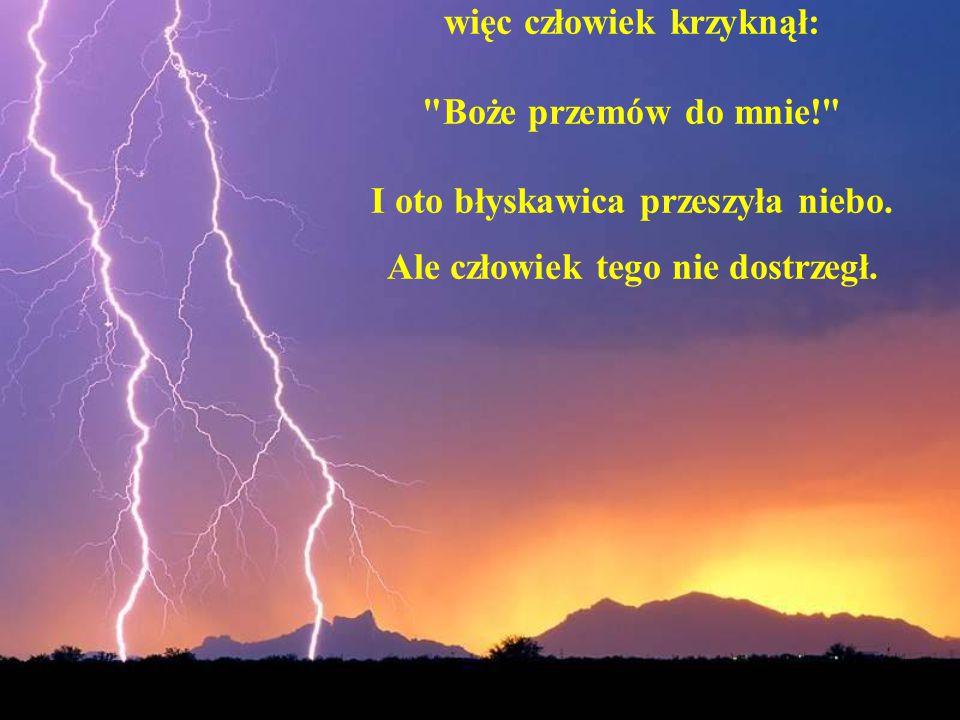 więc człowiek krzyknął: Boże przemów do mnie! I oto błyskawica przeszyła niebo.