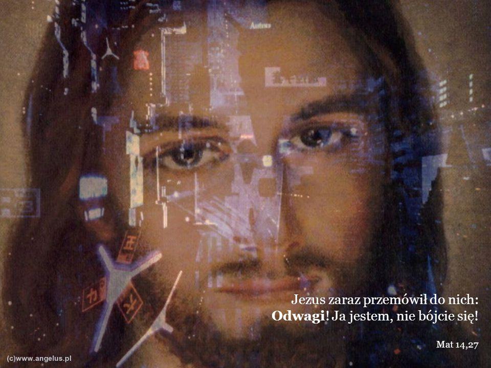 Jezus zaraz przemówił do nich: Odwagi! Ja jestem, nie bójcie się! Mat 14,27