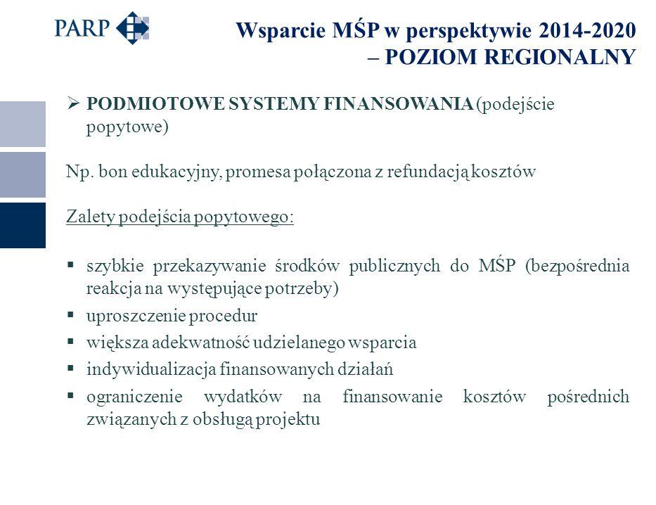 Wsparcie MŚP w perspektywie 2014-2020 – POZIOM REGIONALNY  PODMIOTOWE SYSTEMY FINANSOWANIA (podejście popytowe) Np.
