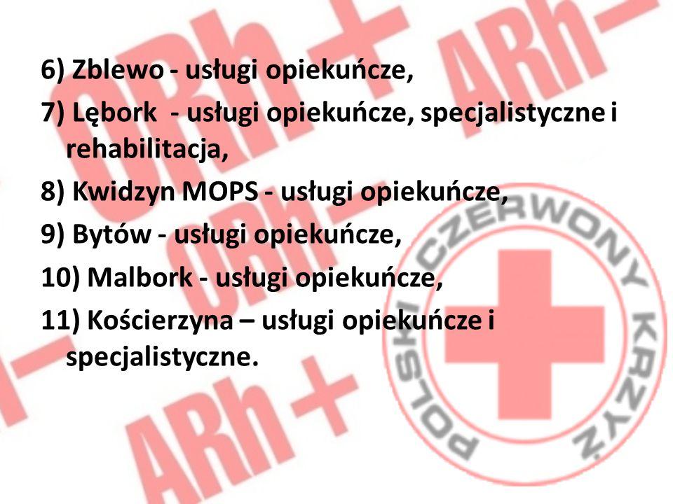 6) Zblewo - usługi opiekuńcze, 7) Lębork - usługi opiekuńcze, specjalistyczne i rehabilitacja, 8) Kwidzyn MOPS - usługi opiekuńcze, 9) Bytów - usługi