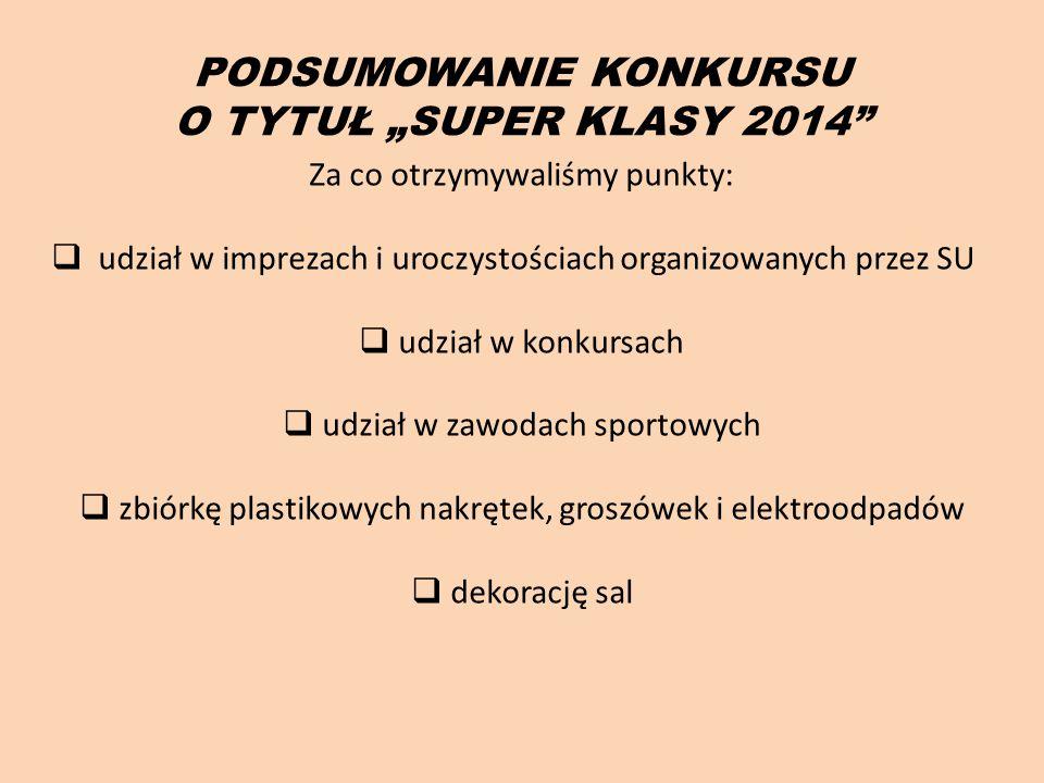 """PODSUMOWANIE KONKURSU O TYTUŁ """"SUPER KLASY 2014"""" Za co otrzymywaliśmy punkty:  udział w imprezach i uroczystościach organizowanych przez SU  udział"""