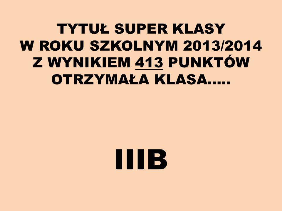 TYTUŁ SUPER KLASY W ROKU SZKOLNYM 2013/2014 Z WYNIKIEM 413 PUNKTÓW OTRZYMAŁA KLASA….. IIIB