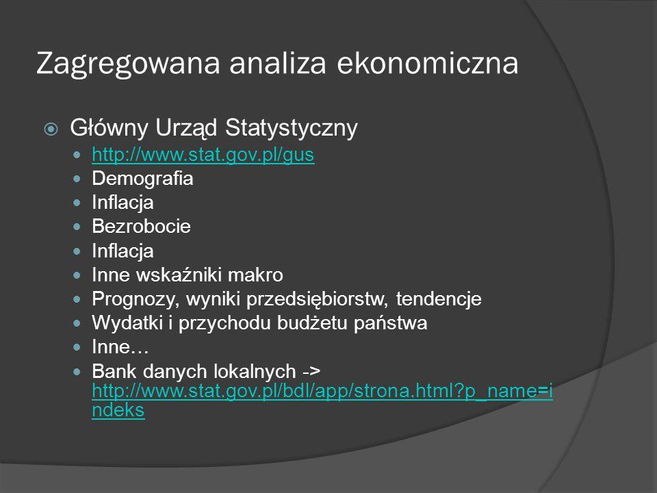 Zagregowana analiza ekonomiczna  Narodowy Bank Polski Kalendarz udostępniania danych http://www.nbp.pl/home.aspx?f=/statystyka/kale ndarz/kalendarz.html http://www.nbp.pl/home.aspx?f=/statystyka/kale ndarz/kalendarz.html Dane tj.: ○ Bilans płatniczy ○ Aktywa rezerwowe NBP ○ Podaż pieniądza M3 ○ Inflacja bazowa ○ Oczekiwania inflacyjne ○ Ale, przede wszystkim stopy procentowe http://www.nbp.pl/home.aspx?f=/dzienne/stopy.ht m http://www.nbp.pl/home.aspx?f=/dzienne/stopy.ht m
