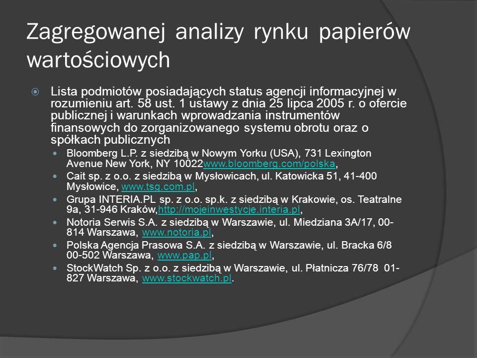 Zagregowanej analizy rynku papierów wartościowych  Komisja Nadzoru Finansowego http://www.knf.gov.pl/index.html http://www.knf.gov.pl/index.html Warte uwagi są opracowania nt.
