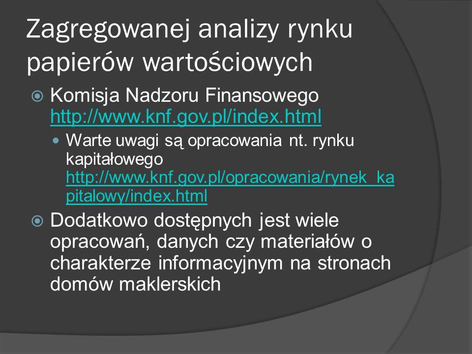 Zagregowanej analizy rynku papierów wartościowych i inne  Nie można zapomnieć o stronach GPW SA w Warszawie http://gpw.pl/ http://gpwcatalyst.pl/ http://www.newconnect.pl/  Związek Banków Polskich http://zbp.pl/http://zbp.pl/  Stowarzyszenie Inwestorów Indywidualnych http://www.sii.org.pl/ http://www.sii.org.pl/  Warto się również odnieść do sprawozdań, opracowań i innych dokumentów tworzonych przez spółki, z których na uwagę zasługuje prospekt emisyjny oraz sprawozdania roczne/kwartalne  Na koniec warto zaznaczyć prasę specjalistyczną – dzienniki czy tygodniki