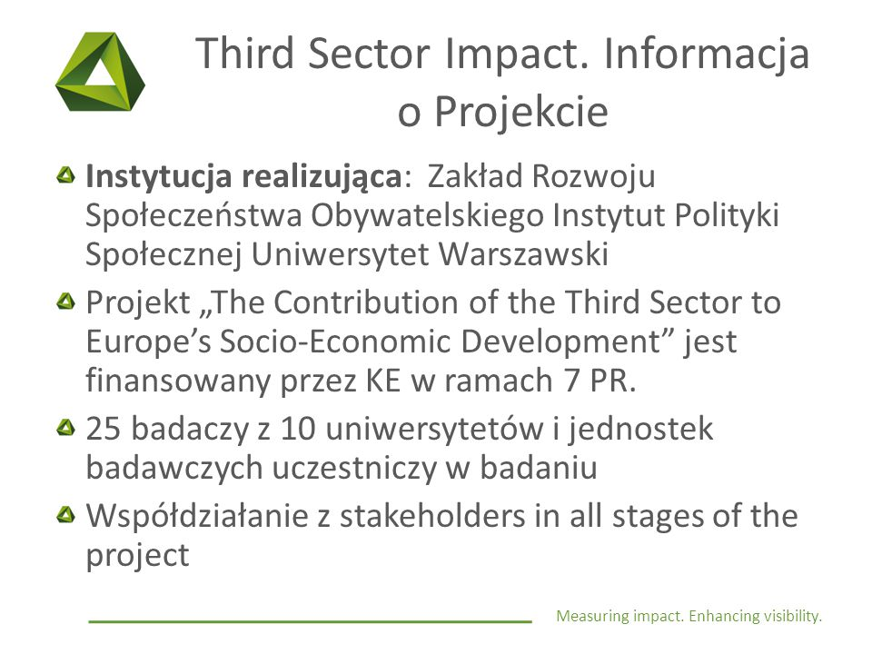 Measuring impact. Enhancing visibility. Third Sector Impact.