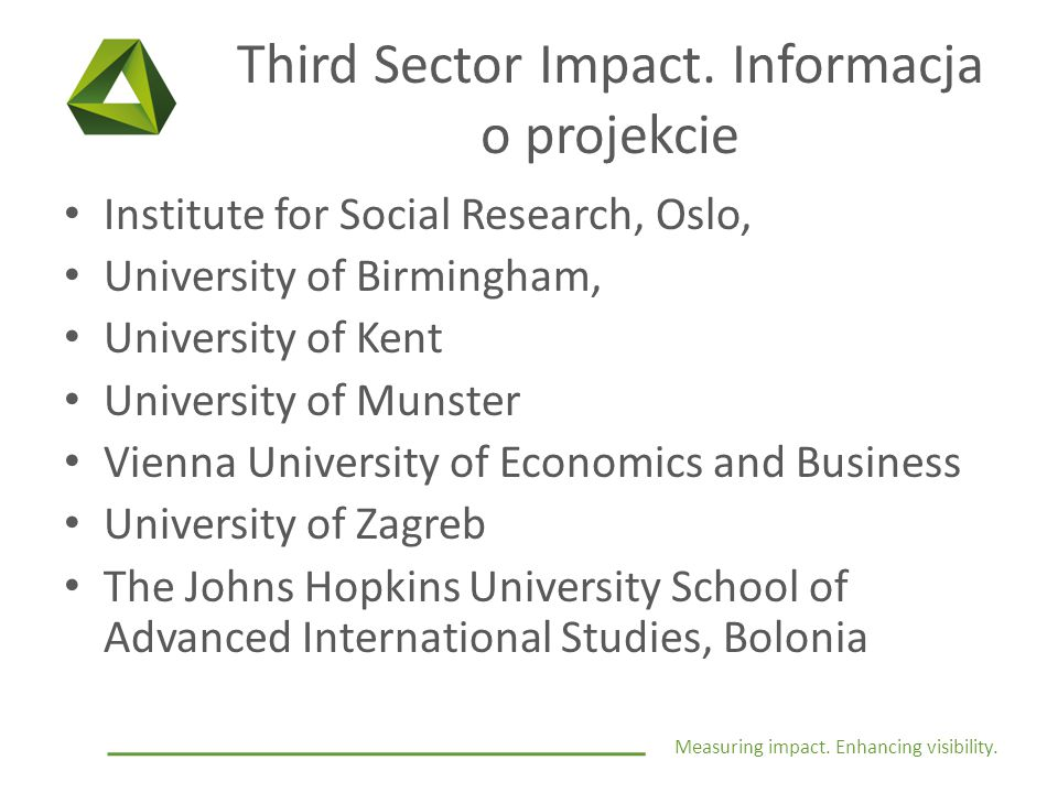 Measuring impact. Enhancing visibility. Third Sector Impact. Informacja o projekcie Institute for Social Research, Oslo, University of Birmingham, Uni