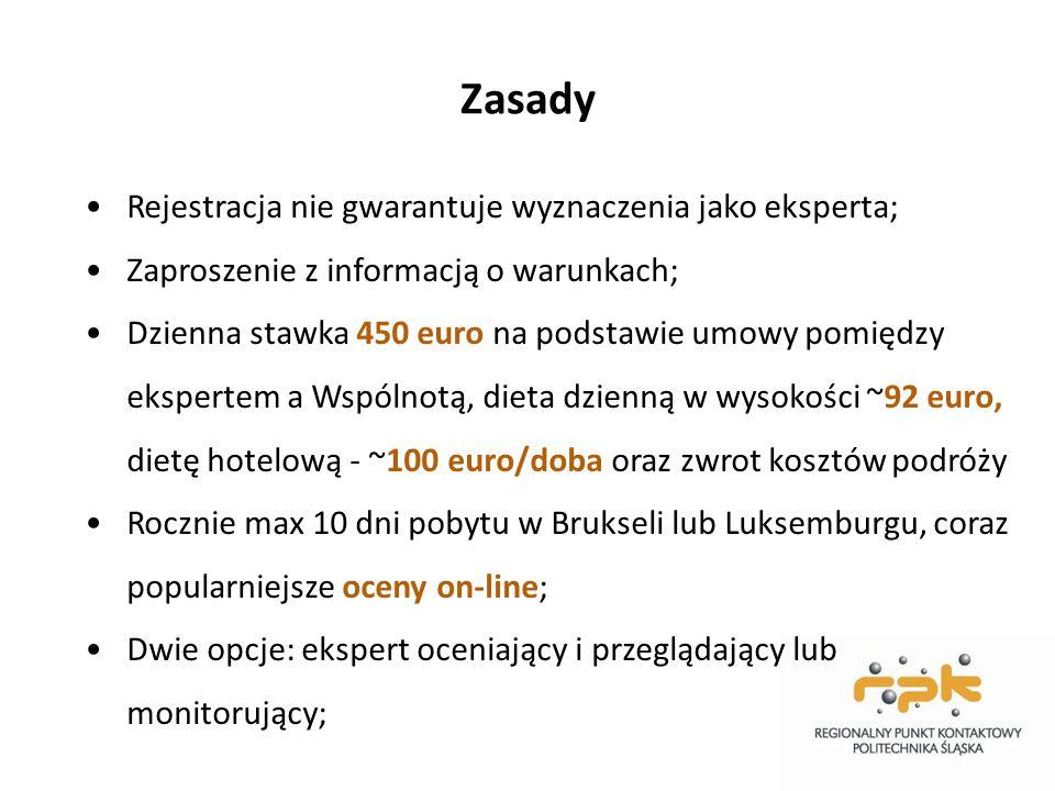 Zasady Rejestracja nie gwarantuje wyznaczenia jako eksperta; Zaproszenie z informacją o warunkach; Dzienna stawka 450 euro na podstawie umowy pomiędzy