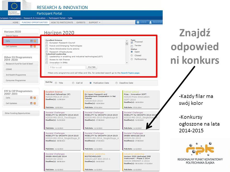 Wyszukiwanie konkursów po słowach kluczowych Uwaga: podpowiada tylko tematy pre- definiowane, dodatkowo sprawdź też konkursy otwarte bez narzuconych tematów (akcje Marie Skłodowskiej-Curie, ERC, FET Open…)