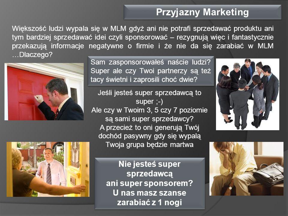 Przyjazny Marketing Większość ludzi wypala się w MLM gdyż ani nie potrafi sprzedawać produktu ani tym bardziej sprzedawać idei czyli sponsorować – rez