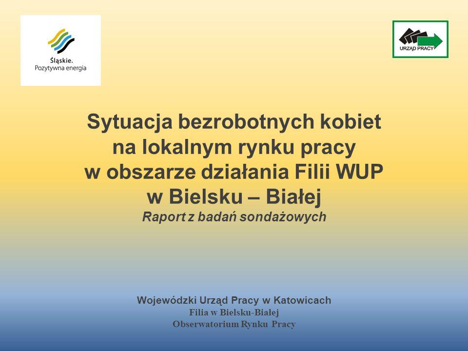 Sytuacja bezrobotnych kobiet na lokalnym rynku pracy w obszarze działania Filii WUP w Bielsku – Białej Raport z badań sondażowych Wojewódzki Urząd Pra
