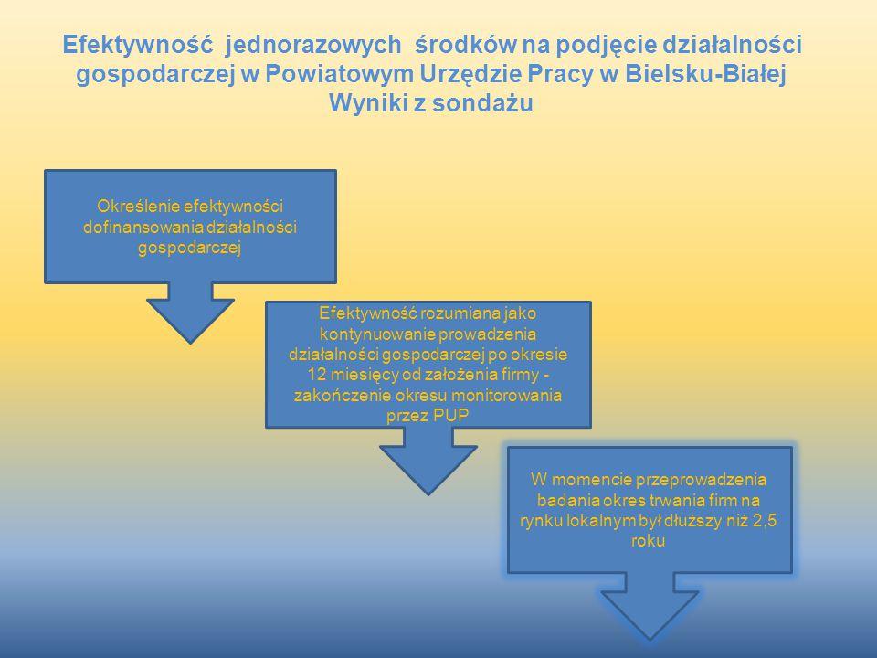 Określenie efektywności dofinansowania działalności gospodarczej Efektywność rozumiana jako kontynuowanie prowadzenia działalności gospodarczej po okr