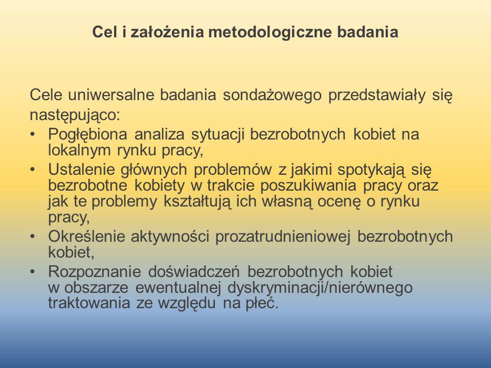 Cel i założenia metodologiczne badania Cele uniwersalne badania sondażowego przedstawiały się następująco: Pogłębiona analiza sytuacji bezrobotnych ko