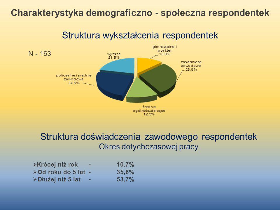 Charakterystyka demograficzno - społeczna respondentek Struktura wykształcenia respondentek N - 163 Struktura doświadczenia zawodowego respondentek Ok