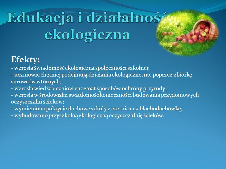Efekty: - wzrosła świadomość ekologiczna społeczności szkolnej; - uczniowie chętniej podejmują działania ekologiczne, np. poprzez zbiórkę surowców wtó