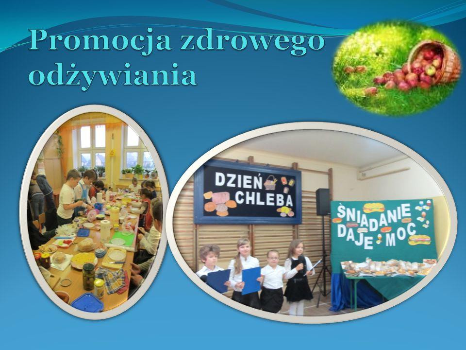 Działania: - organizacja szkolnych imprez i akcji upowszechniających zdrowe odżywianie: Dzień Chleba, Śniadanie daje moc, Dzień Wody, Dzień Zdrowia; - zajęcia praktyczne rozwijające zdolności i wiedzę kulinarną uczniów zgodnie z zasadami racjonalnego żywienia; - realizacja szkolnego programu działań,,Żyjemy mądrze i zdrowo, bo owocowo we współpracy z Ośrodkiem Integrowanej Produkcji Owoców w Wisowej; - organizacja przedstawień na temat zdrowych nawyków żywieniowych; - udział w ogólnopolskich programach edukacyjnych:,,Owoce w szkole ,,,Szklanka mleka ; - zapewnienie obiadów szkolnych zgodnych z normami; - promowanie zdrowego odżywiania poprzez gazetki, wystawy, ulotki, itp.; - praktyczne promowanie spożywania jabłek i picia wody na terenie szkoły.