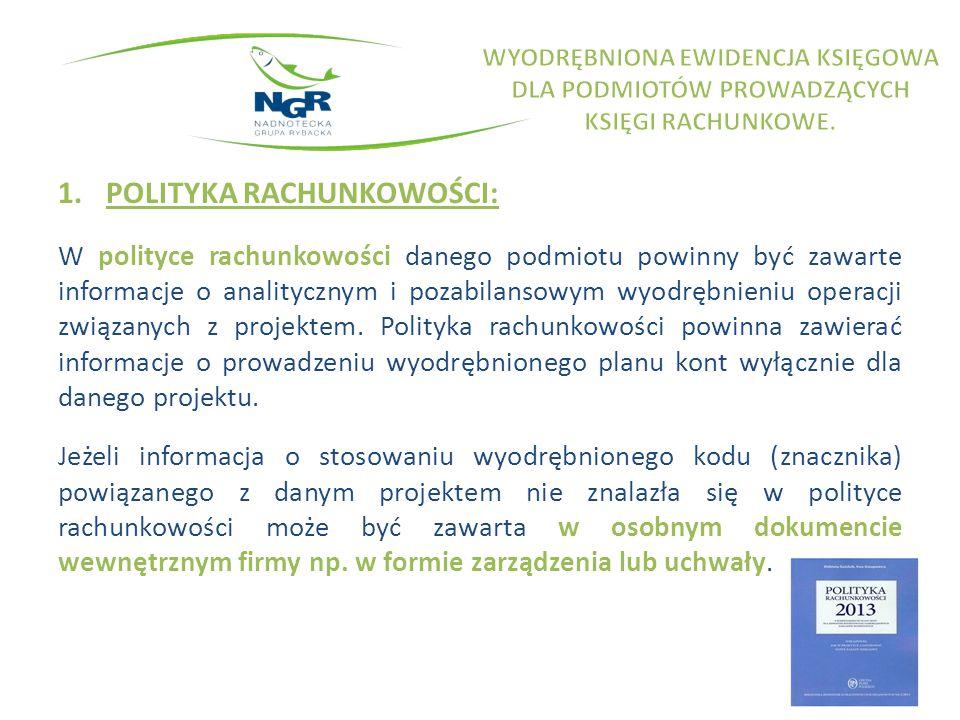 1.POLITYKA RACHUNKOWOŚCI: W polityce rachunkowości danego podmiotu powinny być zawarte informacje o analitycznym i pozabilansowym wyodrębnieniu operacji związanych z projektem.