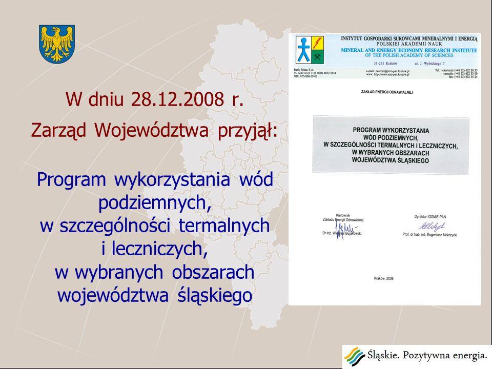 Program wykorzystania wód podziemnych, w szczególności termalnych i leczniczych, w wybranych obszarach województwa śląskiego Pracę wykonał na zlecenie Województwa Śląskiego Zakład Gospodarki Surowcami Mineralnymi i Energią Polskiej Akademii Nauk w Krakowie.