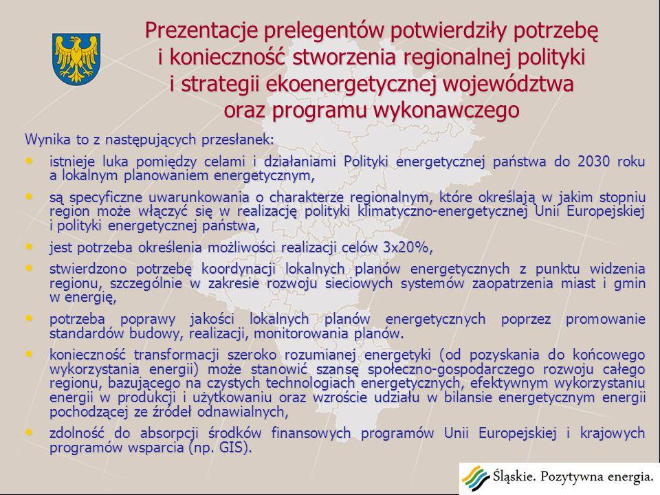 Prezentacje prelegentów potwierdziły potrzebę i konieczność stworzenia regionalnej polityki i strategii ekoenergetycznej województwa oraz programu wykonawczego Wynika to z następujących przesłanek: istnieje luka pomiędzy celami i działaniami Polityki energetycznej państwa do 2030 roku a lokalnym planowaniem energetycznym, istnieje luka pomiędzy celami i działaniami Polityki energetycznej państwa do 2030 roku a lokalnym planowaniem energetycznym, są specyficzne uwarunkowania o charakterze regionalnym, które określają w jakim stopniu region może włączyć się w realizację polityki klimatyczno-energetycznej Unii Europejskiej i polityki energetycznej państwa, są specyficzne uwarunkowania o charakterze regionalnym, które określają w jakim stopniu region może włączyć się w realizację polityki klimatyczno-energetycznej Unii Europejskiej i polityki energetycznej państwa, jest potrzeba określenia możliwości realizacji celów 3x20%, jest potrzeba określenia możliwości realizacji celów 3x20%, stwierdzono potrzebę koordynacji lokalnych planów energetycznych z punktu widzenia regionu, szczególnie w zakresie rozwoju sieciowych systemów zaopatrzenia miast i gmin w energię, stwierdzono potrzebę koordynacji lokalnych planów energetycznych z punktu widzenia regionu, szczególnie w zakresie rozwoju sieciowych systemów zaopatrzenia miast i gmin w energię, potrzeba poprawy jakości lokalnych planów energetycznych poprzez promowanie standardów budowy, realizacji, monitorowania planów.