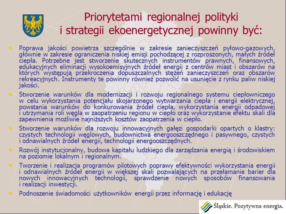 Priorytetami regionalnej polityki i strategii ekoenergetycznej powinny być: Poprawa jakości powietrza szczególnie w zakresie zanieczyszczeń pyłowo-gazowych, głównie w zakresie ograniczenia niskiej emisji pochodzącej z rozproszonych, małych źródeł ciepła.