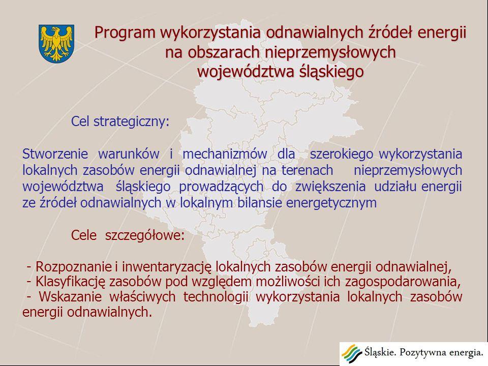 Cel strategiczny: Stworzenie warunków i mechanizmów dla szerokiego wykorzystania lokalnych zasobów energii odnawialnej na terenach nieprzemysłowych województwa śląskiego prowadzących do zwiększenia udziału energii ze źródeł odnawialnych w lokalnym bilansie energetycznym Cele szczegółowe: - Rozpoznanie i inwentaryzację lokalnych zasobów energii odnawialnej, - Klasyfikację zasobów pod względem możliwości ich zagospodarowania, - Wskazanie właściwych technologii wykorzystania lokalnych zasobów energii odnawialnych.