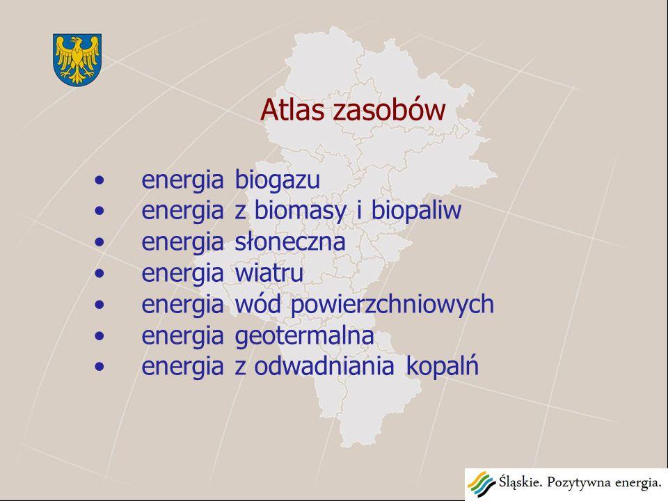 Atlas zasobów energia biogazu energia z biomasy i biopaliw energia słoneczna energia wiatru energia wód powierzchniowych energia geotermalna energia z odwadniania kopalń