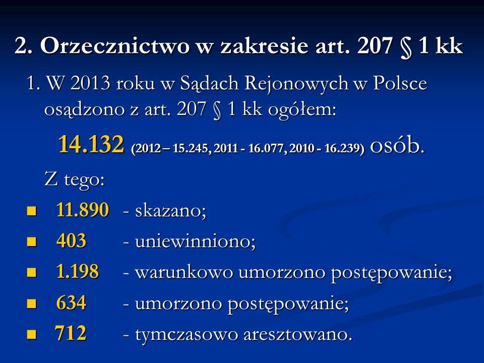 2. Orzecznictwo w zakresie art. 207 § 1 kk 1. W 2013 roku w Sądach Rejonowych w Polsce osądzono z art. 207 § 1 kk ogółem: 14.132 (2012 – 15.245, 2011