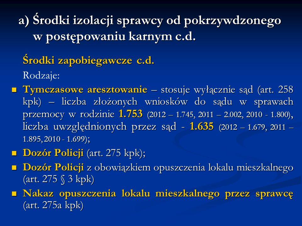 a) Środki izolacji sprawcy od pokrzywdzonego w postępowaniu karnym c.d. Środki zapobiegawcze c.d. Rodzaje: Tymczasowe aresztowanie – stosuje wyłącznie