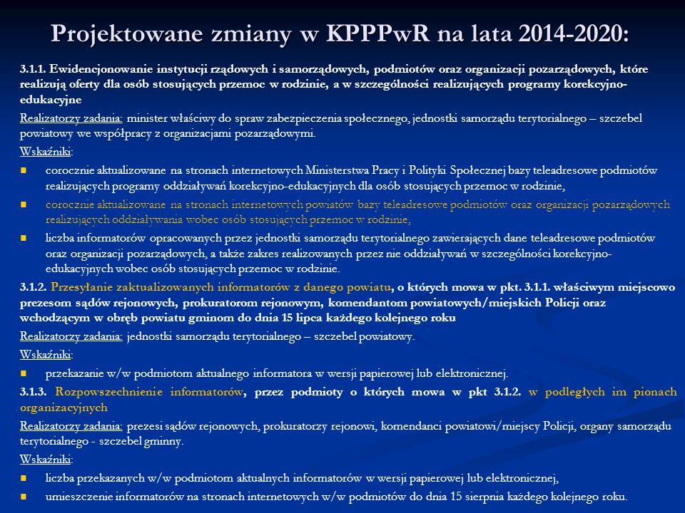 Projektowane zmiany w KPPPwR na lata 2014-2020: 3.1.1. Ewidencjonowanie instytucji rządowych i samorządowych, podmiotów oraz organizacji pozarządowych