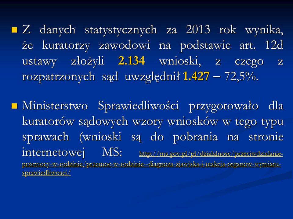 Z danych statystycznych za 2013 rok wynika, że kuratorzy zawodowi na podstawie art. 12d ustawy złożyli 2.134 wnioski, z czego z rozpatrzonych sąd uwzg
