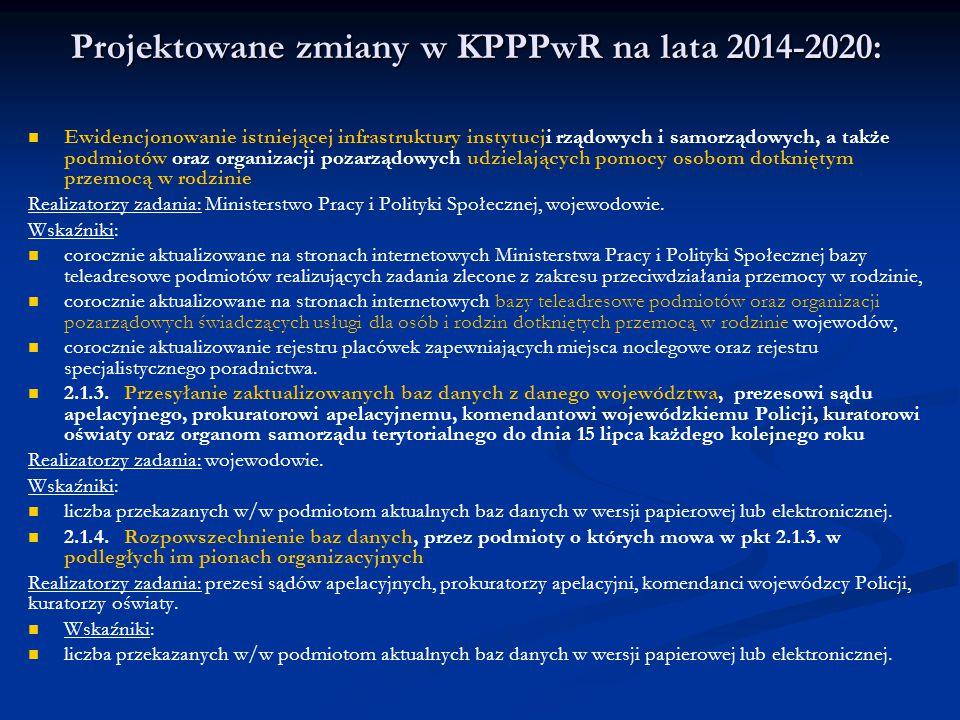 Projektowane zmiany w KPPPwR na lata 2014-2020: Ewidencjonowanie istniejącej infrastruktury instytucji rządowych i samorządowych, a także podmiotów or