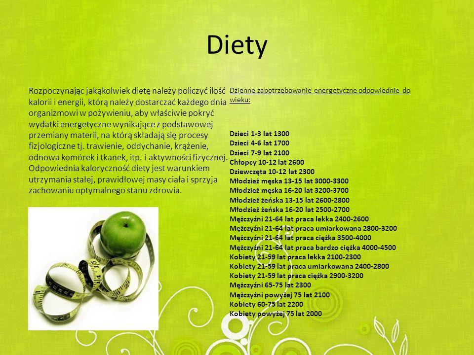 Diety Rozpoczynając jakąkolwiek dietę należy policzyć ilość kalorii i energii, którą należy dostarczać każdego dnia organizmowi w pożywieniu, aby właściwie pokryć wydatki energetyczne wynikające z podstawowej przemiany materii, na którą składają się procesy fizjologiczne tj.