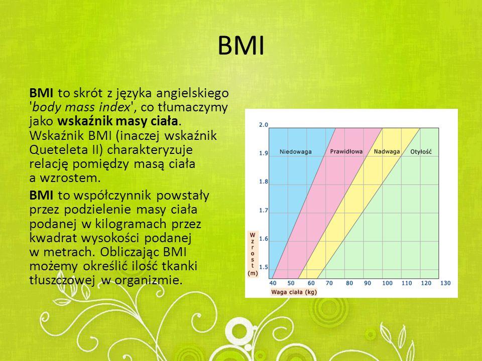 BMI BMI to skrót z języka angielskiego body mass index , co tłumaczymy jako wskaźnik masy ciała.