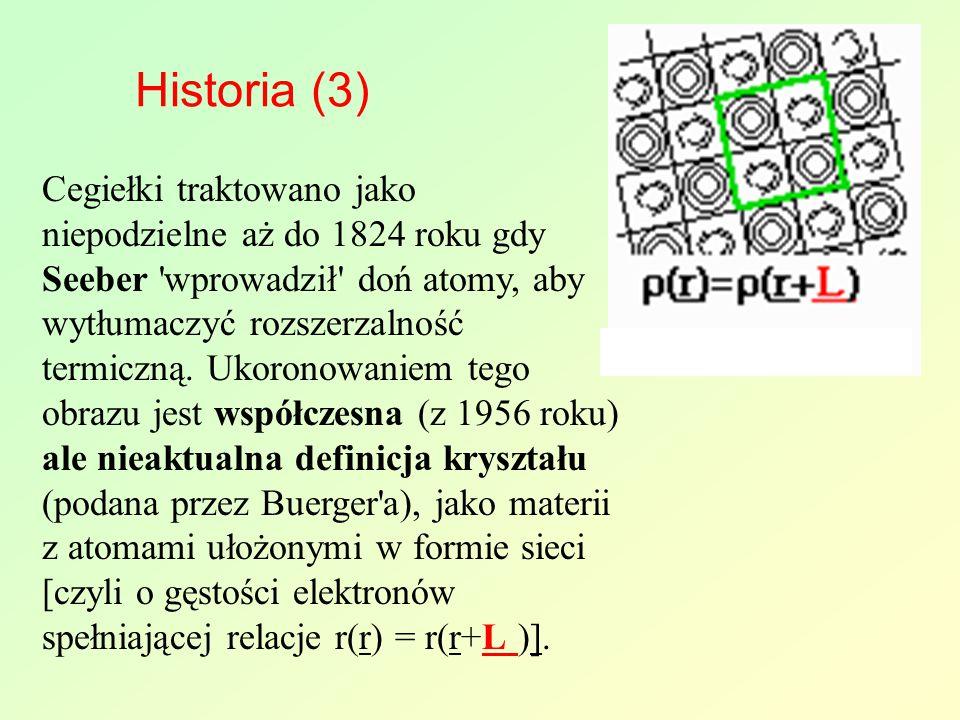 Historia (3) Cegiełki traktowano jako niepodzielne aż do 1824 roku gdy Seeber 'wprowadził' doń atomy, aby wytłumaczyć rozszerzalność termiczną. Ukoron