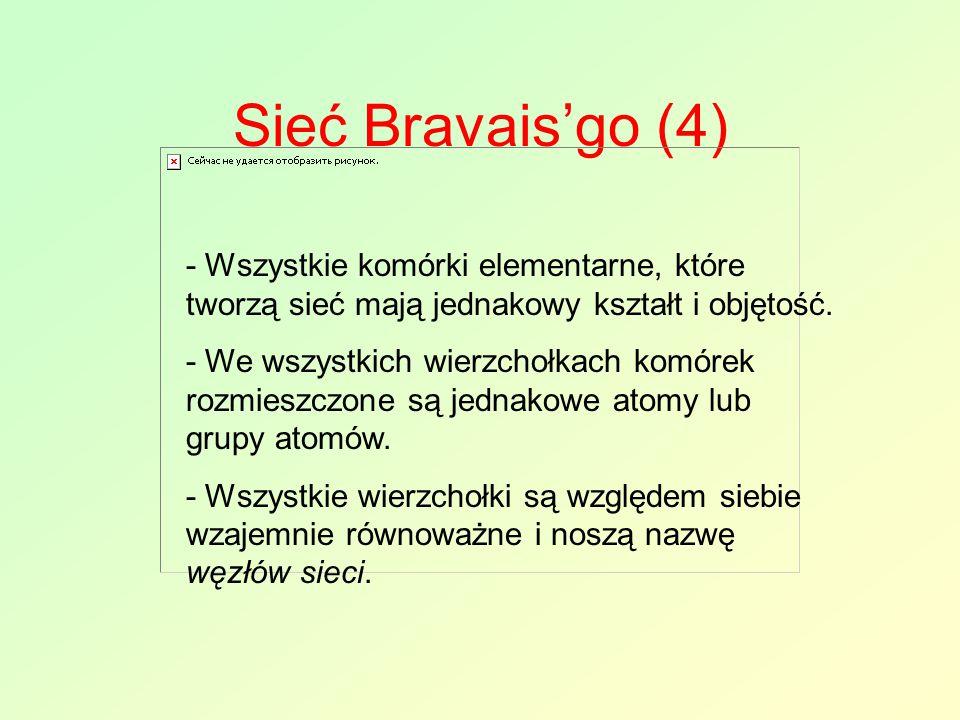 Sieć Bravais'go (4) - Wszystkie komórki elementarne, które tworzą sieć mają jednakowy kształt i objętość. - We wszystkich wierzchołkach komórek rozmie