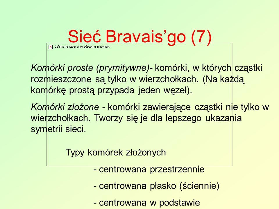 Sieć Bravais'go (7) Komórki proste (prymitywne)- komórki, w których cząstki rozmieszczone są tylko w wierzchołkach. (Na każdą komórkę prostą przypada