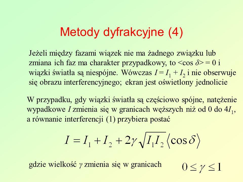 Metody dyfrakcyjne (4) Jeżeli między fazami wiązek nie ma żadnego związku lub zmiana ich faz ma charakter przypadkowy, to = 0 i wiązki światła są niespójne.