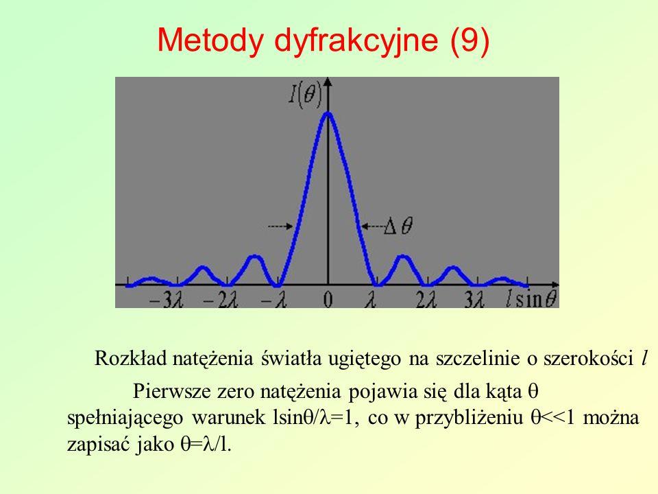 Metody dyfrakcyjne (9) Pierwsze zero natężenia pojawia się dla kąta  spełniającego warunek lsin  / =1, co w przybliżeniu  <<1 można zapisać jako 