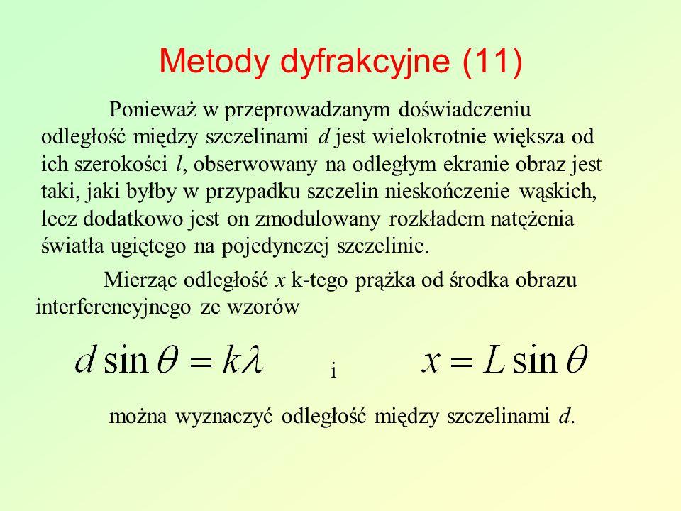 Metody dyfrakcyjne (11) Ponieważ w przeprowadzanym doświadczeniu odległość między szczelinami d jest wielokrotnie większa od ich szerokości l, obserwo