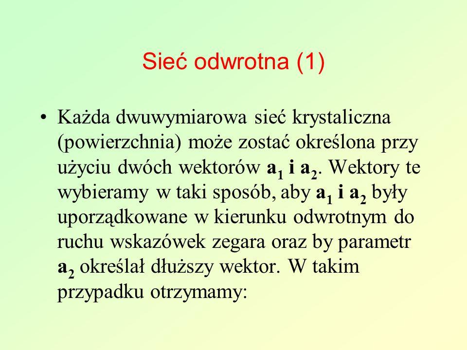 Sieć odwrotna (1) Każda dwuwymiarowa sieć krystaliczna (powierzchnia) może zostać określona przy użyciu dwóch wektorów a 1 i a 2.