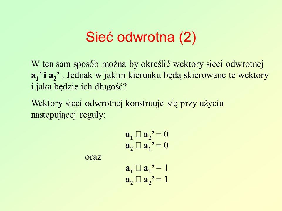 Sieć odwrotna (2) W ten sam sposób można by określić wektory sieci odwrotnej a 1 ' i a 2 '. Jednak w jakim kierunku będą skierowane te wektory i jaka