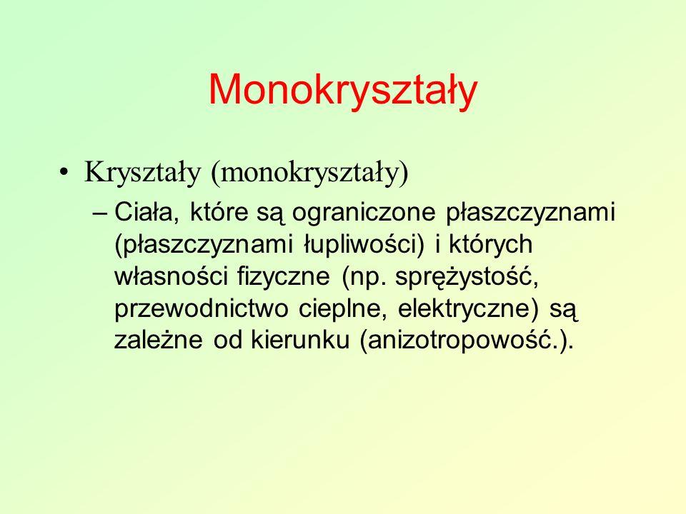 Monokryształy Kryształy (monokryształy) –Ciała, które są ograniczone płaszczyznami (płaszczyznami łupliwości) i których własności fizyczne (np. spręży